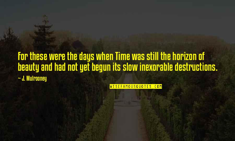 Time And Beauty Quotes By J. Mulrooney: For these were the days when Time was