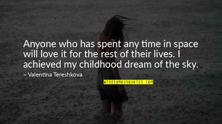 Time And Childhood Quotes By Valentina Tereshkova: Anyone who has spent any time in space