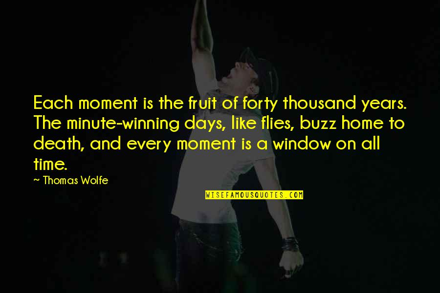Time And Death Quotes By Thomas Wolfe: Each moment is the fruit of forty thousand