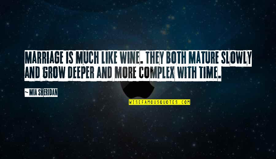 Time And Marriage Quotes By Mia Sheridan: Marriage is much like wine. They both mature