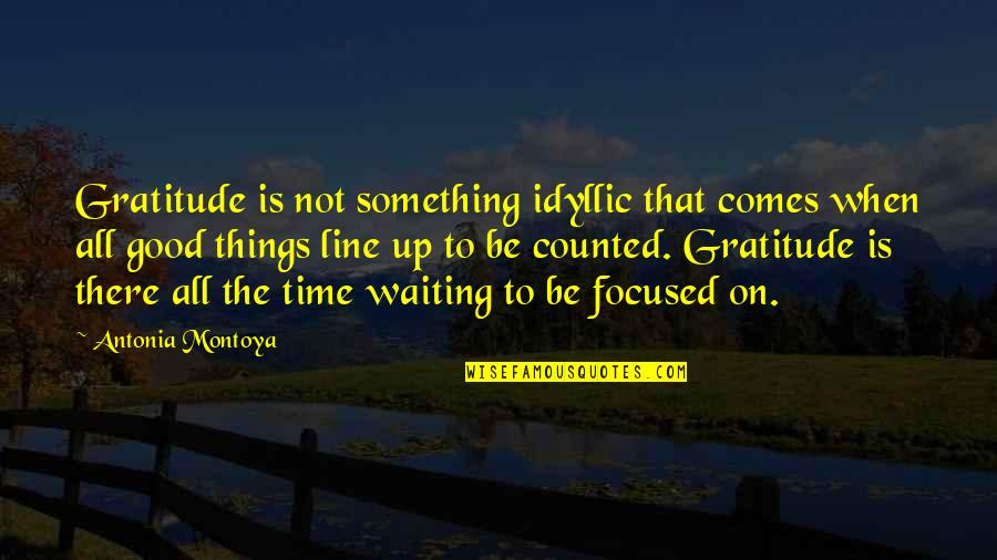 Time Comes Quotes By Antonia Montoya: Gratitude is not something idyllic that comes when