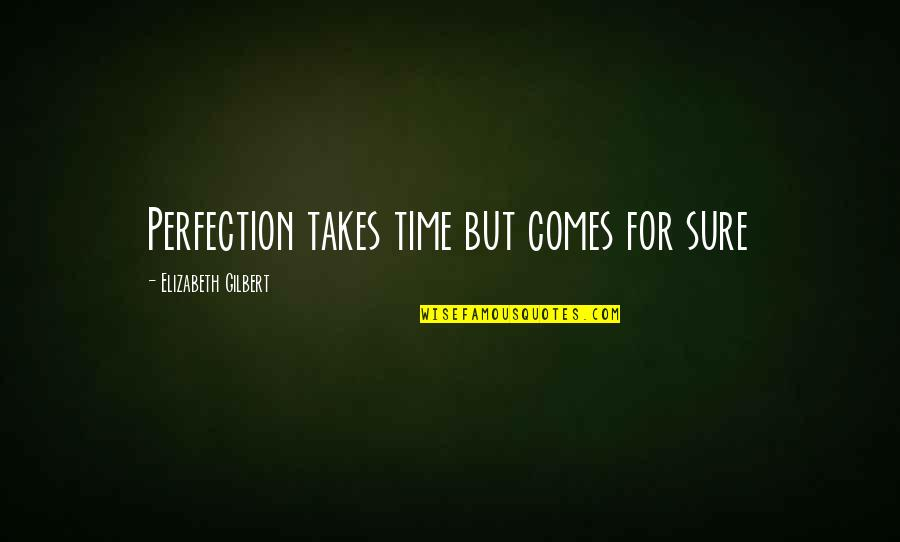 Time Comes Quotes By Elizabeth Gilbert: Perfection takes time but comes for sure