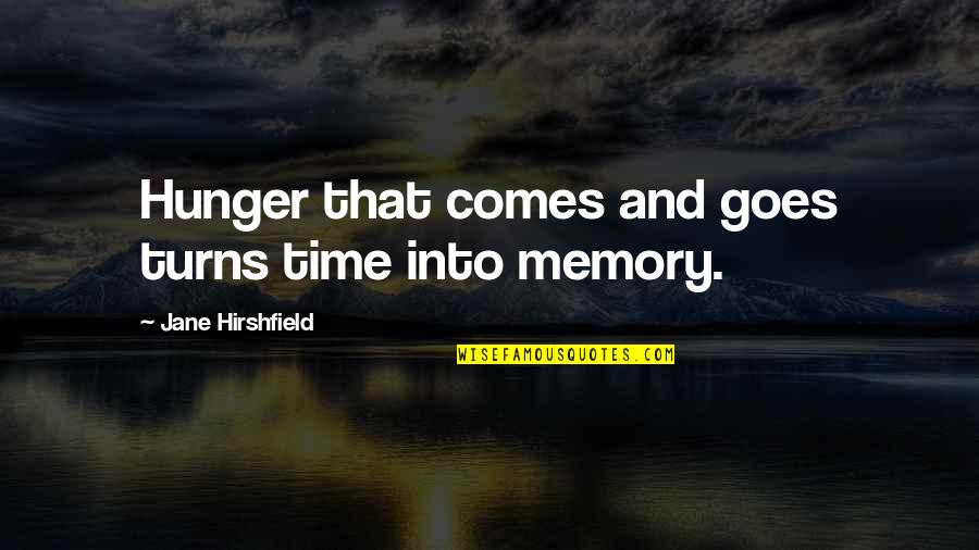 Time Comes Quotes By Jane Hirshfield: Hunger that comes and goes turns time into