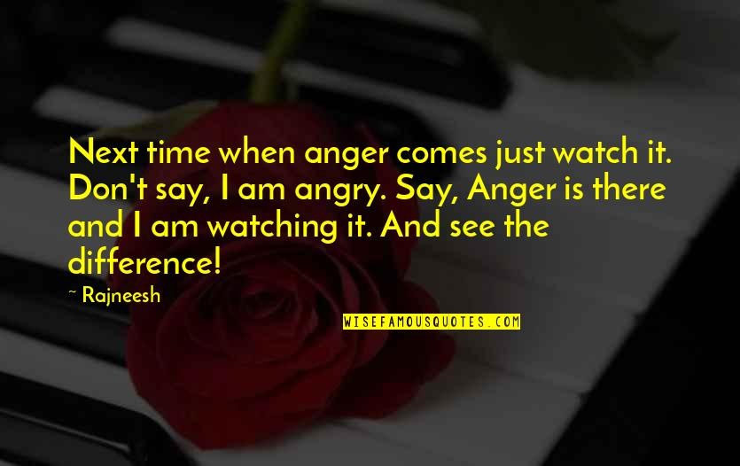 Time Comes Quotes By Rajneesh: Next time when anger comes just watch it.
