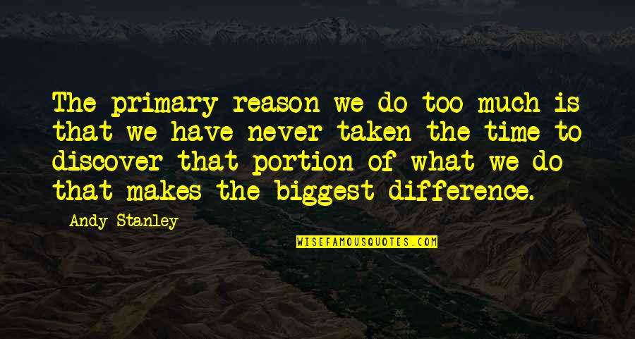 Time Difference Quotes By Andy Stanley: The primary reason we do too much is