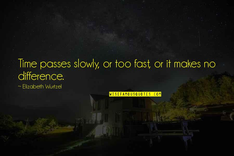 Time Difference Quotes By Elizabeth Wurtzel: Time passes slowly, or too fast, or it