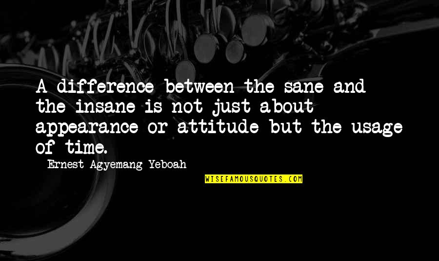 Time Difference Quotes By Ernest Agyemang Yeboah: A difference between the sane and the insane