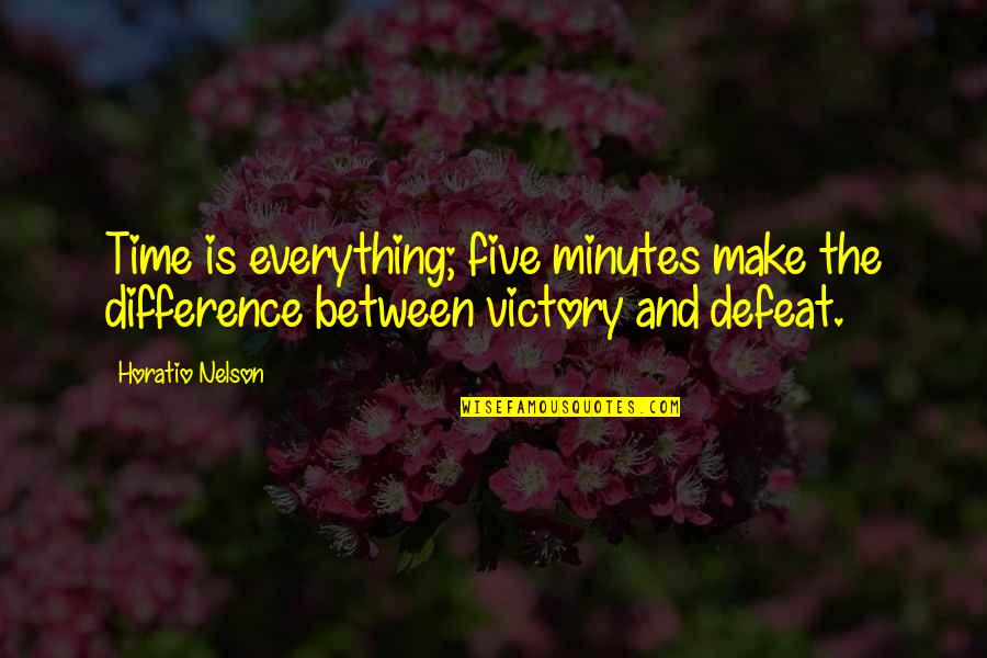 Time Difference Quotes By Horatio Nelson: Time is everything; five minutes make the difference