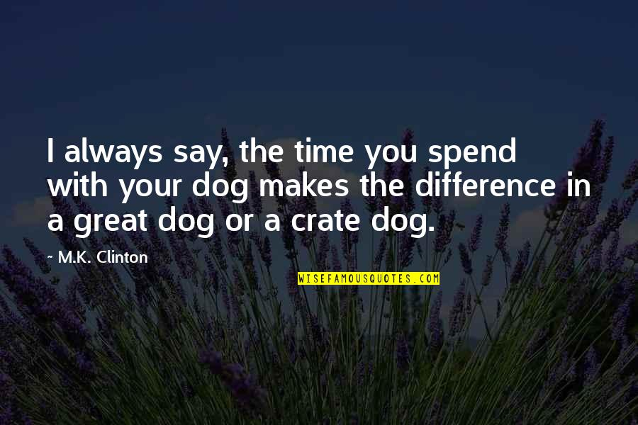 Time Difference Quotes By M.K. Clinton: I always say, the time you spend with