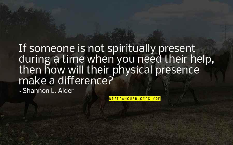 Time Difference Quotes By Shannon L. Alder: If someone is not spiritually present during a