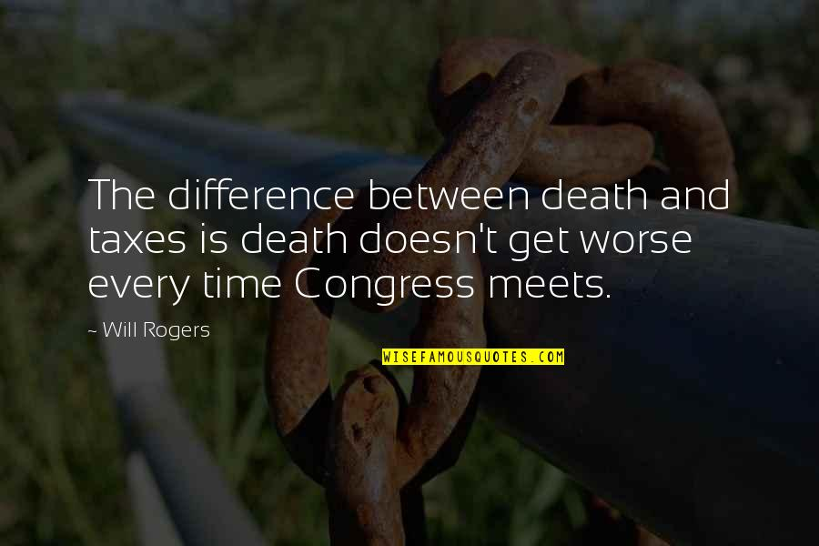 Time Difference Quotes By Will Rogers: The difference between death and taxes is death