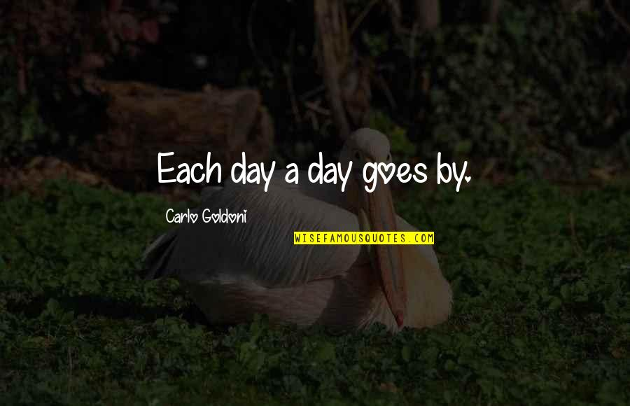 Time Goes By Quotes By Carlo Goldoni: Each day a day goes by.