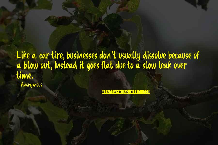 Time Goes Slow Quotes By Anonymous: Like a car tire, businesses don't usually dissolve