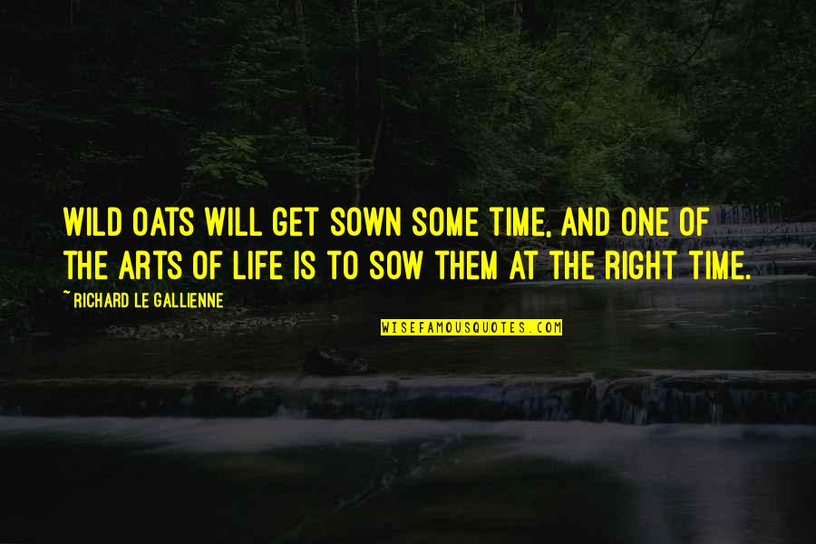 Time Is Right Quotes By Richard Le Gallienne: Wild oats will get sown some time, and