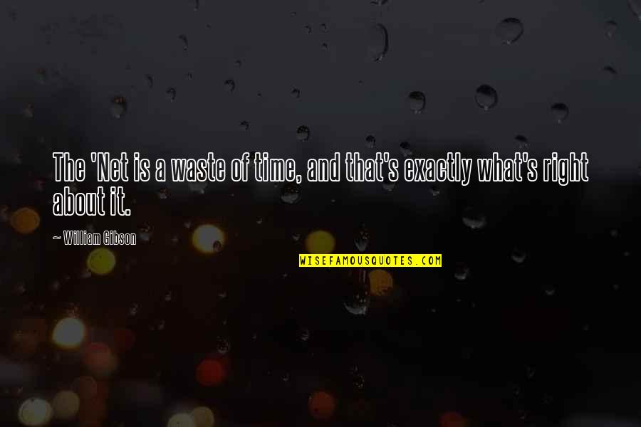 Time Is Right Quotes By William Gibson: The 'Net is a waste of time, and