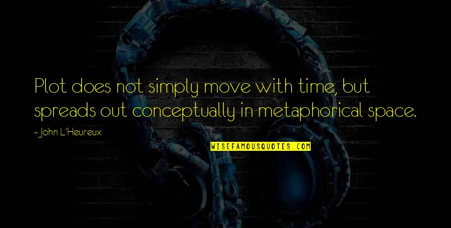 Time Not Moving Quotes By John L'Heureux: Plot does not simply move with time, but