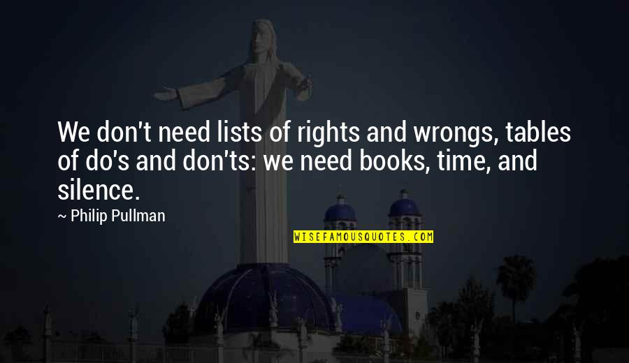 Time Of Quotes By Philip Pullman: We don't need lists of rights and wrongs,