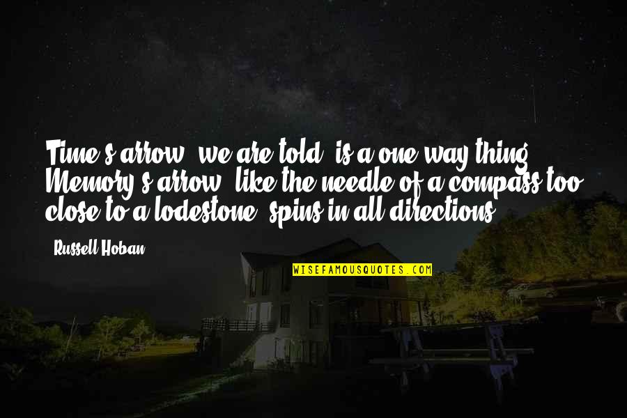 Time Of Quotes By Russell Hoban: Time's arrow, we are told, is a one-way