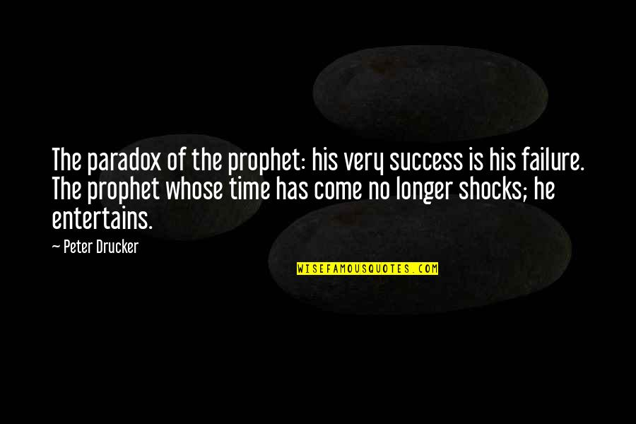 Time Paradox Quotes By Peter Drucker: The paradox of the prophet: his very success