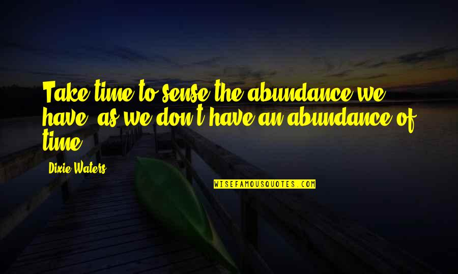 Time To Give Up Love Quotes By Dixie Waters: Take time to sense the abundance we have,