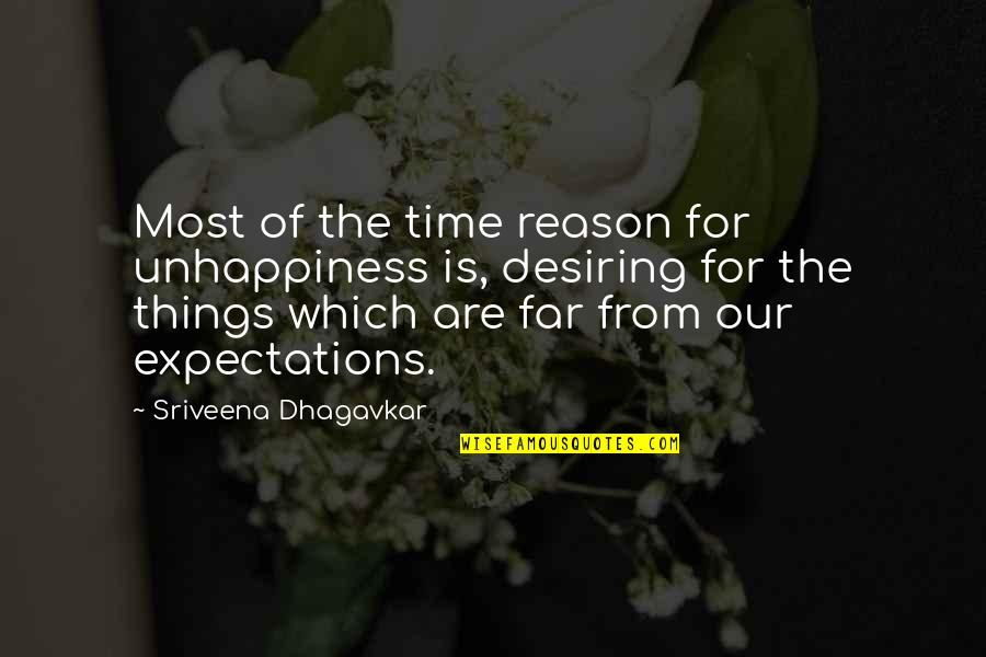Time To Refocus Quotes By Sriveena Dhagavkar: Most of the time reason for unhappiness is,