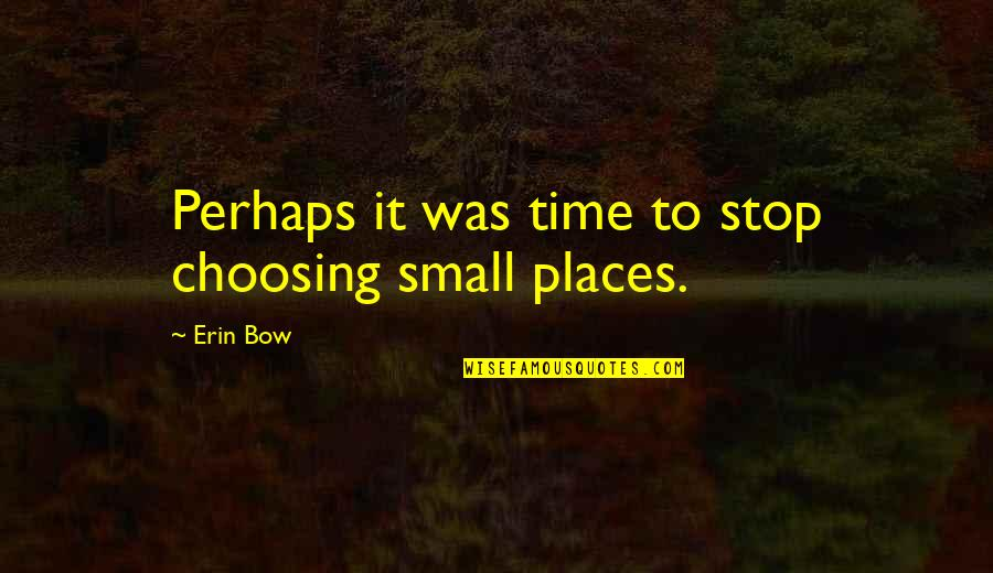 Time To Stop Quotes By Erin Bow: Perhaps it was time to stop choosing small