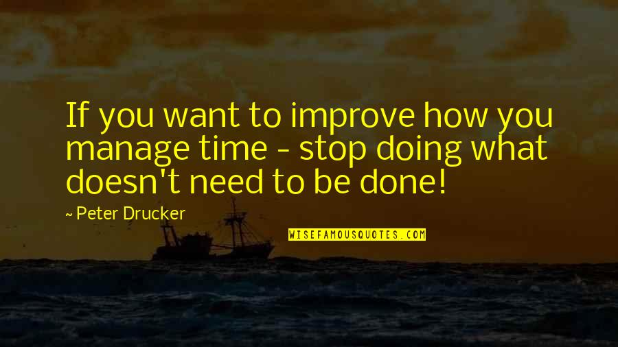 Time To Stop Quotes By Peter Drucker: If you want to improve how you manage