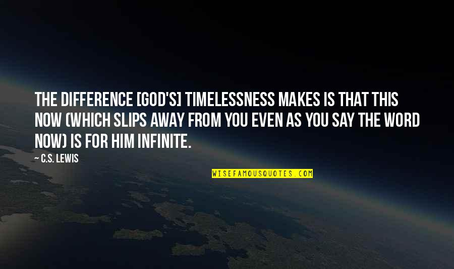 Timelessness Quotes By C.S. Lewis: The difference [God's] timelessness makes is that this