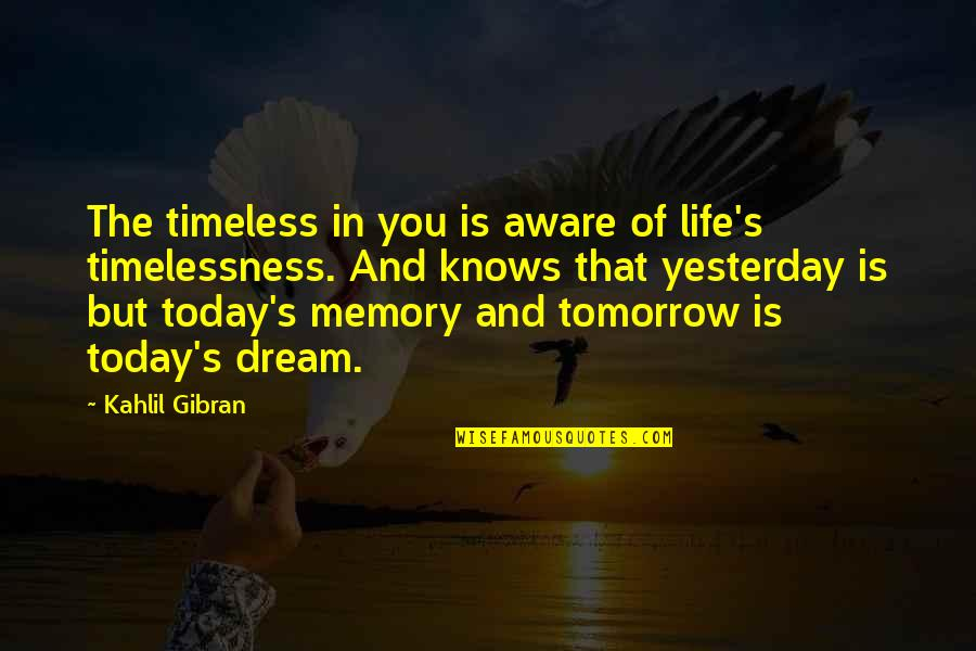 Timelessness Quotes By Kahlil Gibran: The timeless in you is aware of life's