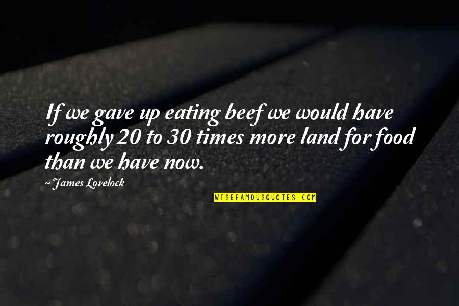 Times Up Quotes By James Lovelock: If we gave up eating beef we would