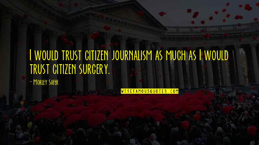 Timeslip Quotes By Morley Safer: I would trust citizen journalism as much as