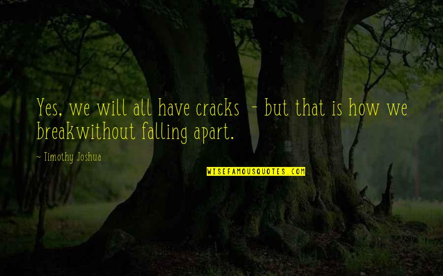 Timothy Joshua Quotes By Timothy Joshua: Yes, we will all have cracks - but