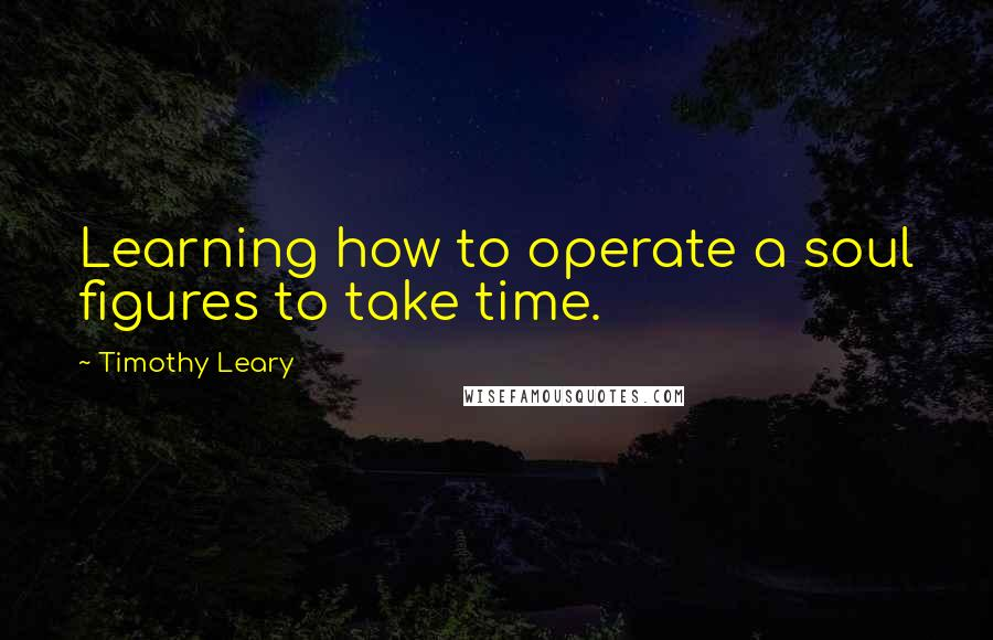 Timothy Leary quotes: Learning how to operate a soul figures to take time.