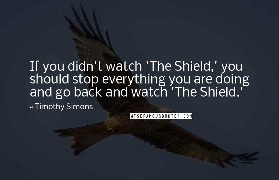 Timothy Simons quotes: If you didn't watch 'The Shield,' you should stop everything you are doing and go back and watch 'The Shield.'