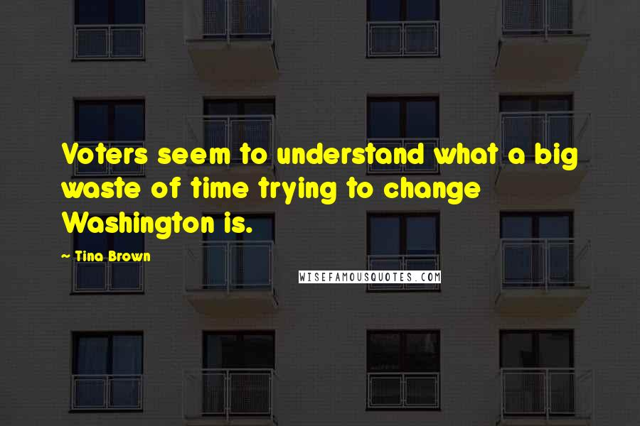 Tina Brown quotes: Voters seem to understand what a big waste of time trying to change Washington is.