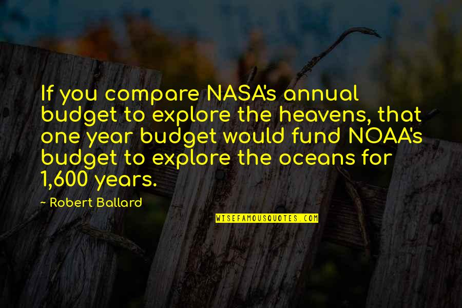 Tinos Quotes By Robert Ballard: If you compare NASA's annual budget to explore