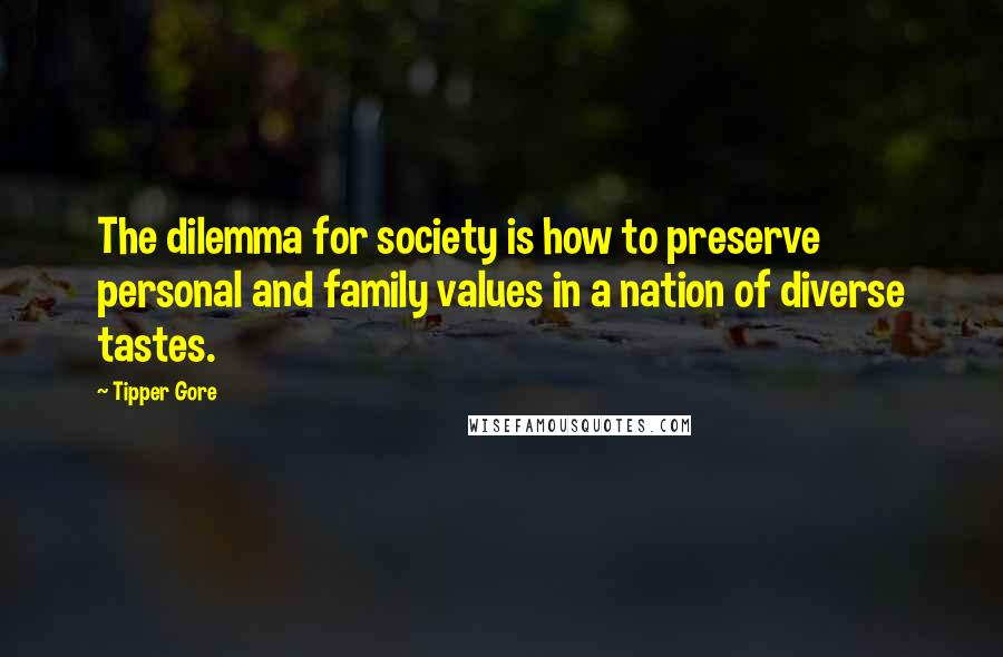 Tipper Gore quotes: The dilemma for society is how to preserve personal and family values in a nation of diverse tastes.