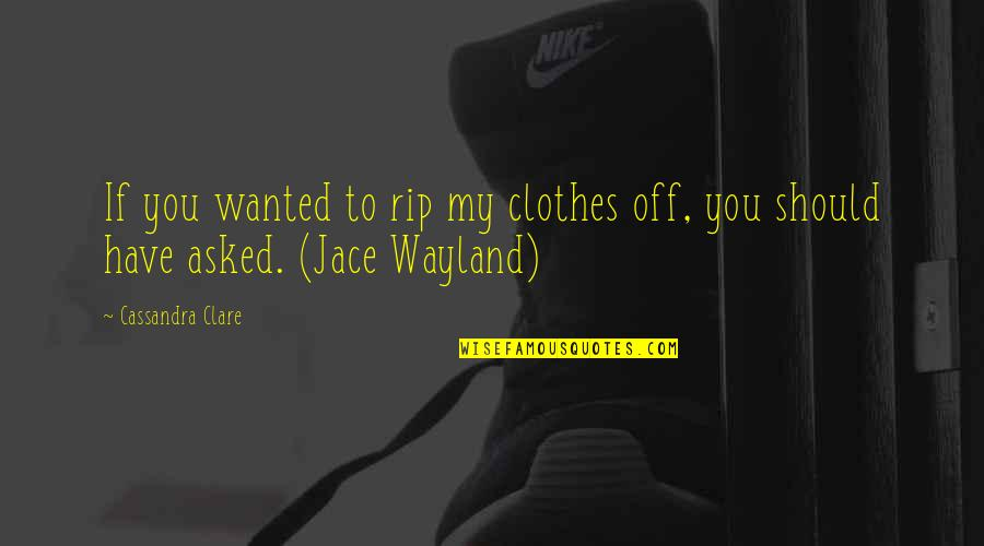 Tired Of Arguing With My Boyfriend Quotes By Cassandra Clare: If you wanted to rip my clothes off,