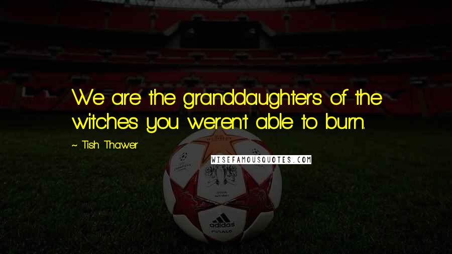 Tish Thawer quotes: We are the granddaughters of the witches you weren't able to burn.
