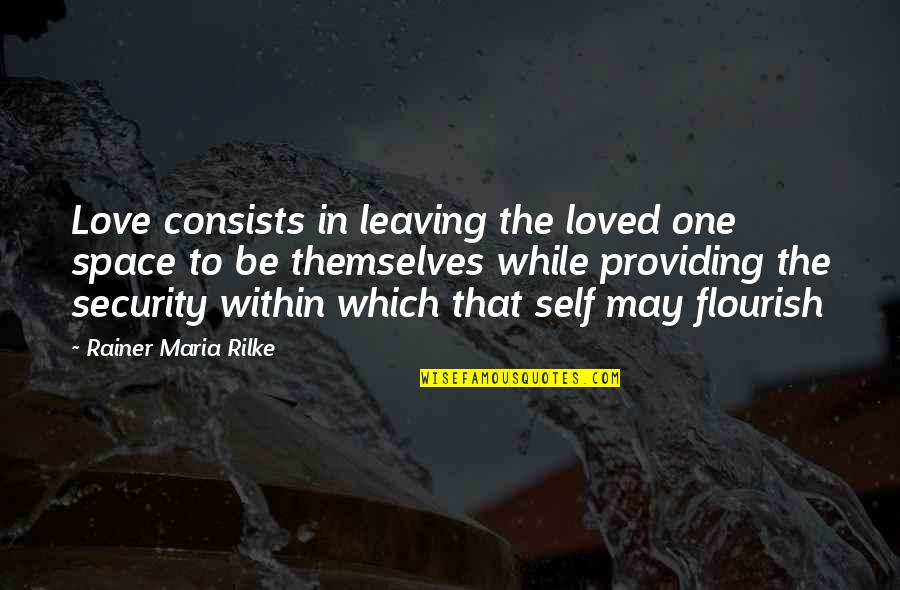 To Be Loved Quotes By Rainer Maria Rilke: Love consists in leaving the loved one space