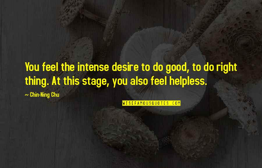 To Feel Good Quotes By Chin-Ning Chu: You feel the intense desire to do good,