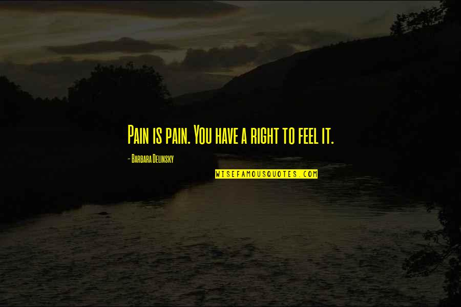 To Feel Pain Quotes By Barbara Delinsky: Pain is pain. You have a right to