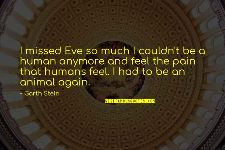 To Feel Pain Quotes By Garth Stein: I missed Eve so much I couldn't be
