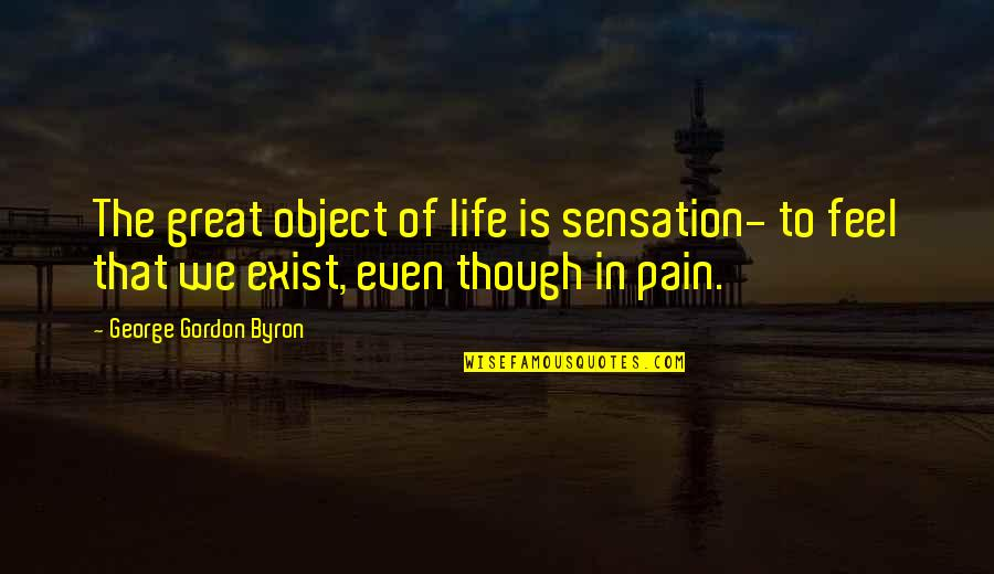 To Feel Pain Quotes By George Gordon Byron: The great object of life is sensation- to