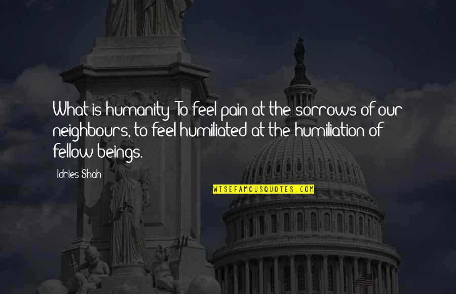To Feel Pain Quotes By Idries Shah: What is humanity? To feel pain at the