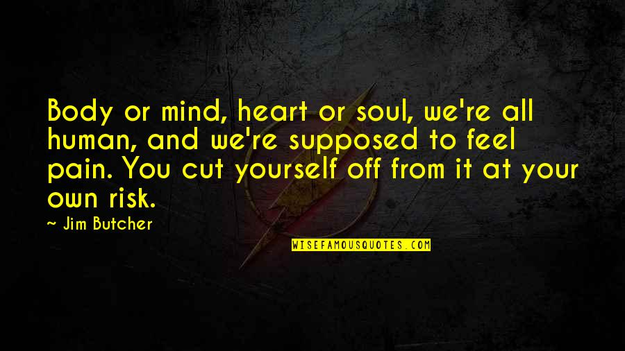 To Feel Pain Quotes By Jim Butcher: Body or mind, heart or soul, we're all