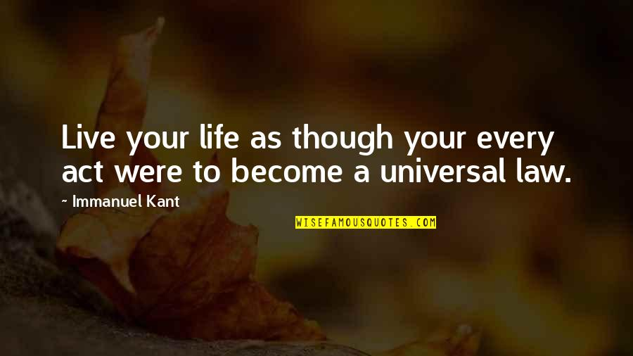 To Live Life Quotes By Immanuel Kant: Live your life as though your every act