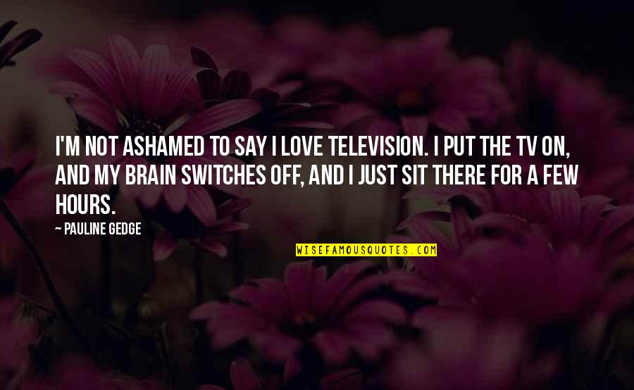 To My Love Quotes By Pauline Gedge: I'm not ashamed to say I love television.