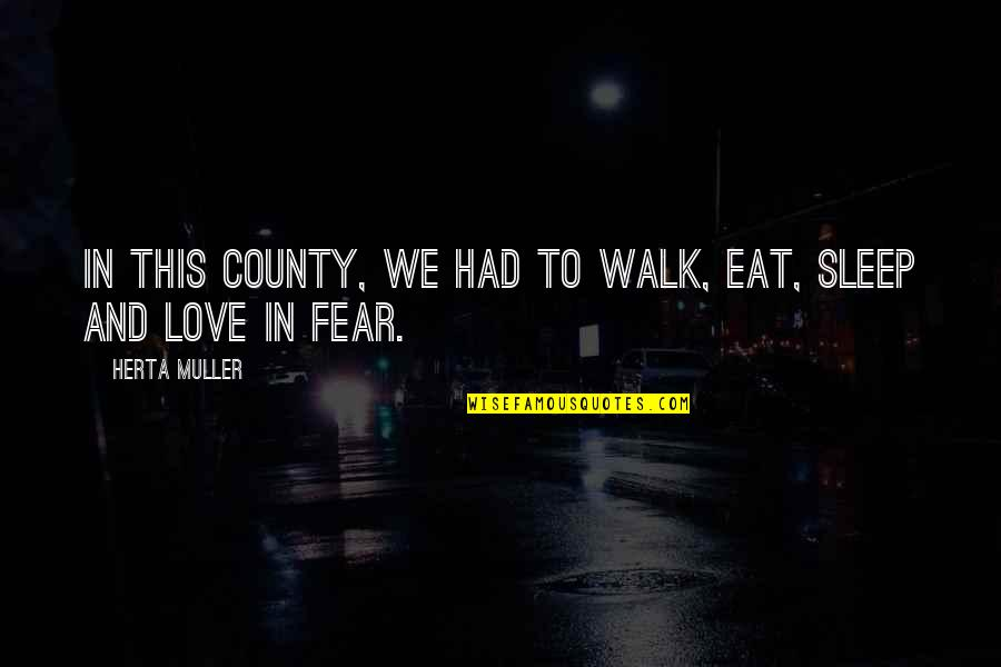 To Sleep Quotes By Herta Muller: In this county, we had to walk, eat,