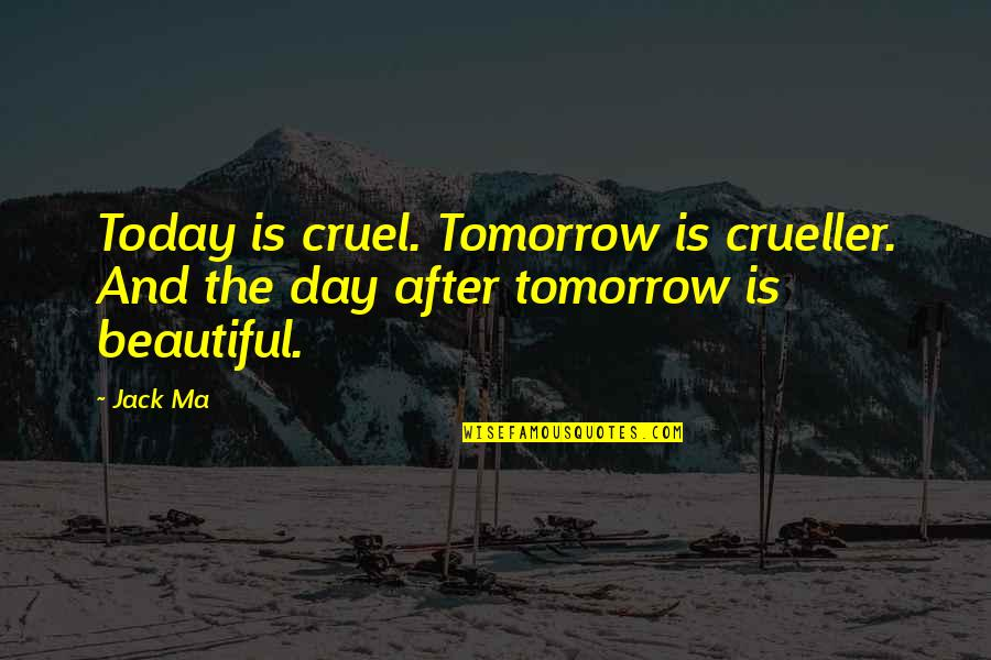 Today Is Your Day Inspirational Quotes By Jack Ma: Today is cruel. Tomorrow is crueller. And the
